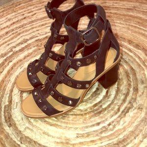 Studded UGG heeled sandals